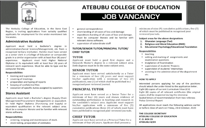 Atebubu College Of Education Recruitment