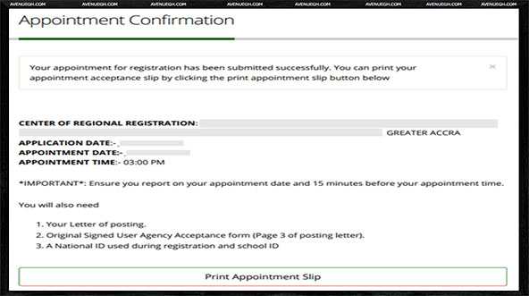 National Service Registration And Placement-appointment-confirmation