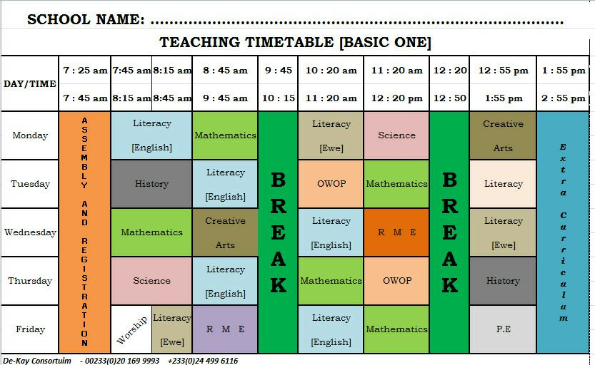 GES New Syllabus Time Table Primary (Basic) 1