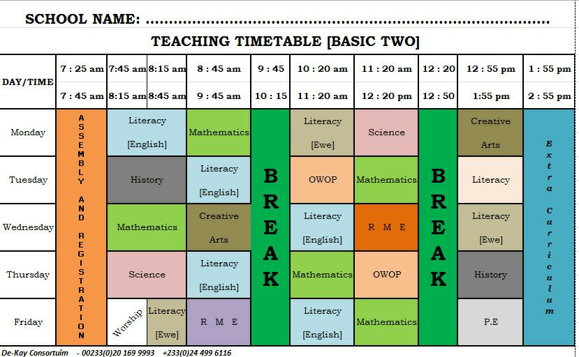 GES New Syllabus Time Table Primary (Basic) 2