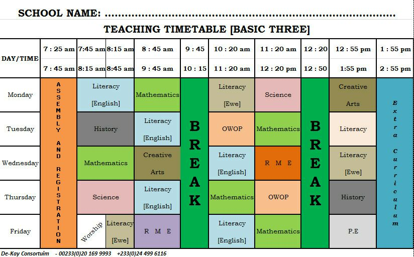 GES New Syllabus Time Table Primary (Basic) 3