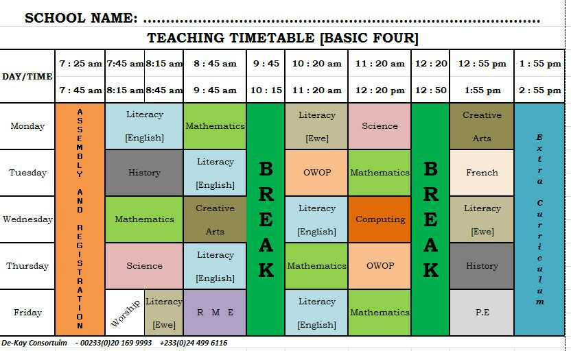 GES New Syllabus Time Table Primary (Basic) 4