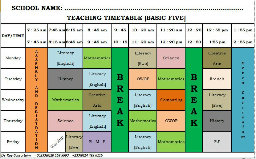 GES New Syllabus Time Table Primary (Basic) 5