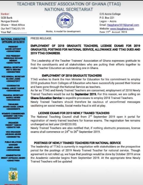 NTC Licensure Exams Registration Teacher Trainees Association Of Ghana (TTAG) National Secretariat