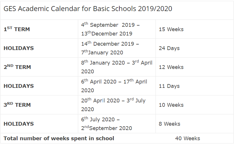 2. Ges Basic schools calender