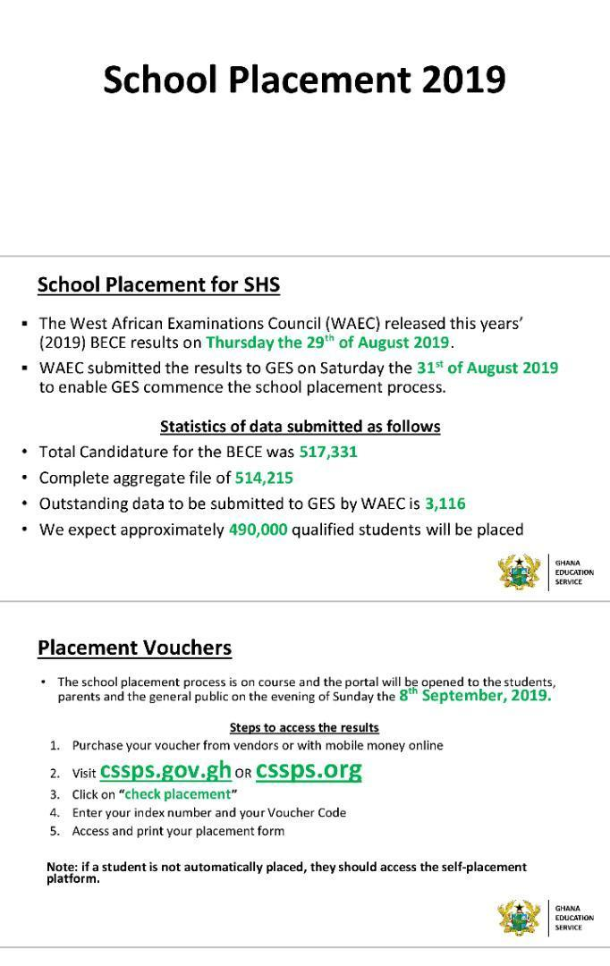 BECE School Placement and How To Do Self Placement 2019/2020 - Check placement