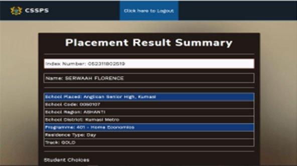 BECE SHS CSSPS Placement-summary