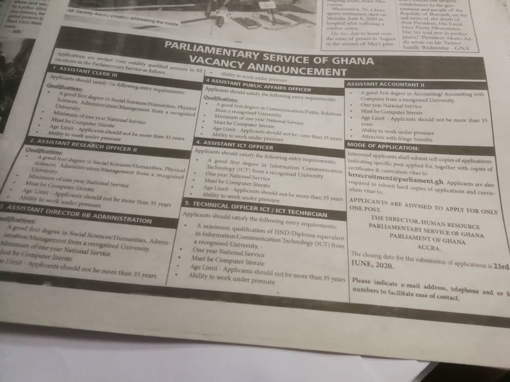 Ongoing Parliamentary Service of Ghana Recruitment