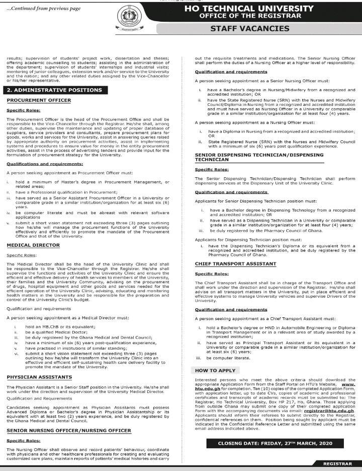 Ho Tech Uni Vacancy 2
