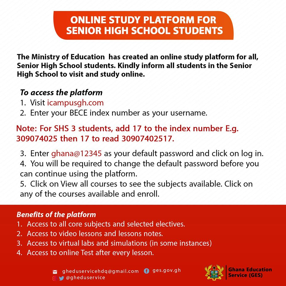Ministry of education icampusgh Platform