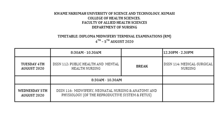 KNUST midwivery timetable 1