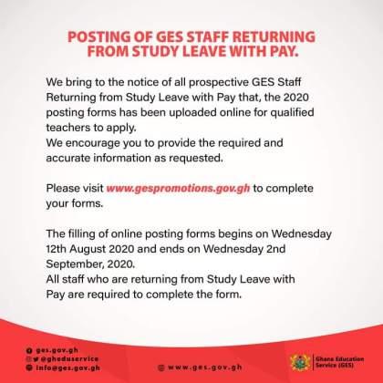 GES Posting Of Staff