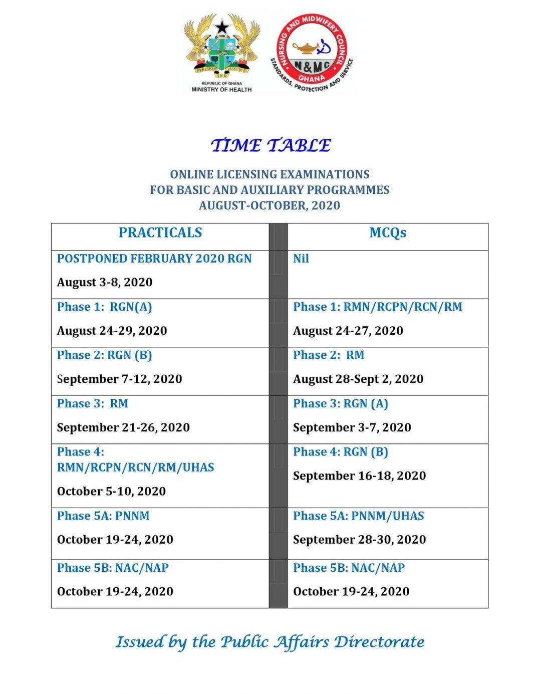 nmc timetable